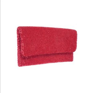Moyna beaded clutch in red